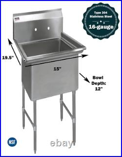 1 Compartment Commercial Stainless Steel Kitchen Utility Sink 15 x 19½ x 36
