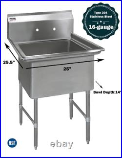 1 Compartment Commercial Stainless Steel Kitchen Utility Sink 25 x 25½ x 36