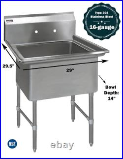 1 Compartment Commercial Stainless Steel Kitchen Utility Sink 29 x 29½ x 36