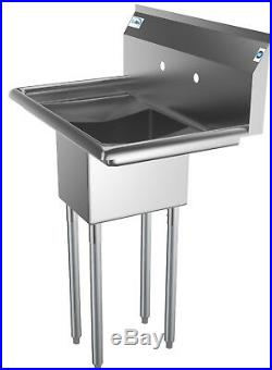 1 Compartment NSF Stainless Steel Commercial Kitchen Prep Sink 2 Drainboards