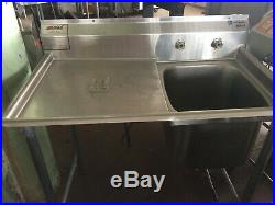 1 Compartment NSF Stainless Steel Commercial Kitchen Vegetab Sink 44 w