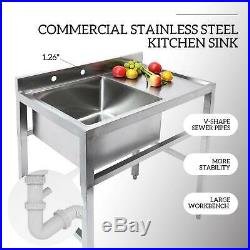 1 Compartment Stainless Steel Commercial Kitchen Prep Sink Stainless Steel Sinkb