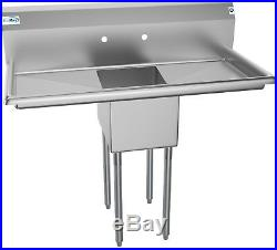 1 Compartment Stainless Steel Commercial Kitchen Prep Sink with 2 Drainboards