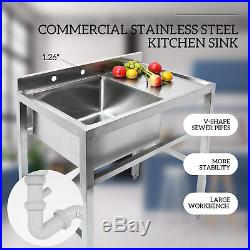 1 Compartment Stainless Steel Commercial Kitchen Sink Utility Sink W Drain Board