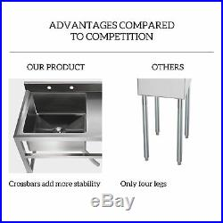 1 Compartment Stainless Steel Commercial Utility Drain Board Kitchen Prep Sink