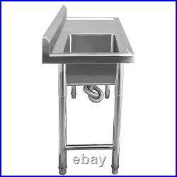 1 Compartment Stainless Steel Handmade Wash Table Commercial Kitchen Restaurant