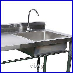 1 Compartment Steel Commercial Sink Kitchen Catering Restaurant Basin Bowl+Drain