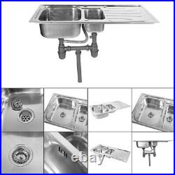 100x50cm Stainless Steel Top Mount Double Bowl Basin Kitchen Sink Commercial Set