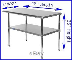 14 X 48 Stainless Steel Kitchen Work Table Commercial Restaurant Food Prep