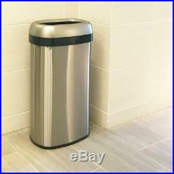 16 Gal. Oval Open Top Commercial Grade Stainless Steel Trash Can and Recycle Bin