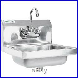 17 x 15 Hand Wash Sink with FAUCET Commercial Stainless Steel Wall Mount Kit