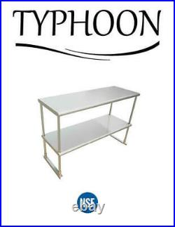 18 X 48 Commercial Kitchen Over Shelf Stainless Steel 2 Layer Rounded Corner
