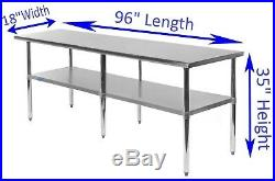 18 X 96 Stainless Steel Kitchen Work Table Commercial Restaurant Food Prep