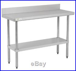18 x 48 Stainless Steel NSF Commercial Kitchen Work Table with 4 Backsplash
