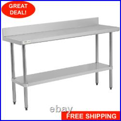 18 x 60 Stainless Steel NSF Commercial Kitchen Work Table with 4 Backsplash