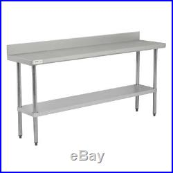 18 x 72 Stainless Steel NSF Commercial Kitchen Work Table with 4 Backsplash