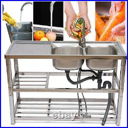 2-Bowls Commercial Kitchen Sink 304 Stainless Steel Utility Restaurant Sink US