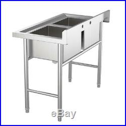 2 Compartment Commercial Sink for Garage / Restaurant / Kitchen Stainless Steel