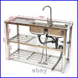 2 Compartment Commercial Utility Sink Stainless Steel Kitchen 360° with Faucet