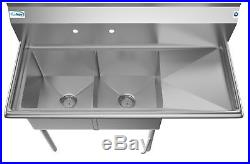 2 Compartment NSF 48 Stainless Steel Commercial Kitchen Prep Sink Drainboard