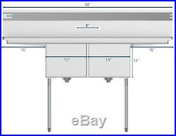 2 Compartment NSF Stainless Steel Commercial Kitchen Prep Sink 2 Drainboards