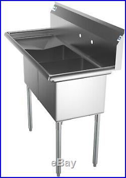 2 Compartment NSF Stainless Steel Commercial Kitchen Prep Sink W Drainboard