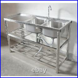 2 Compartment Stainless Steel Commercial Catering Kitchen Prep Sink 360° Faucet