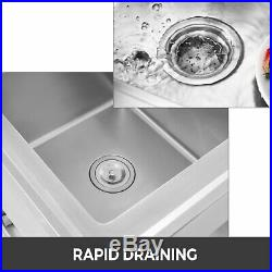 2 Tier Kitchen Utility Sink with Drainboard 39 L Commercial Stainless Steel