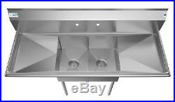 2 Two Compartment NSF Stainless Steel Commercial Kitchen Prep Sink 2 Drainboards