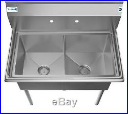 2 Two Compartment NSF Stainless Steel Commercial Kitchen Prep & Utility Sink 36