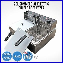 20L Commercial Electric Deep Fryer Basket Chip Cooker Stainless Steel Kitchen