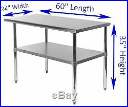 24 X 60 Stainless Steel Kitchen Work Table Commercial Restaurant Food Prep
