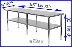 24 X 96 Stainless Steel Kitchen Work Table Commercial Restaurant Food Prep