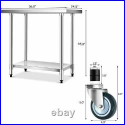 24 x 36 Stainless Steel Commercial Kitchen NSF Prep & Work Table with 4 Wheels