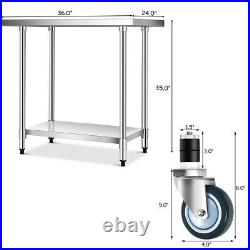 24 x 36 Stainless Steel Commercial Kitchen Tool Prep & Work Table with 4 Wheels