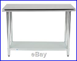 24 x 48 18 Gauge Stainless Steel Commercial Kitchen Work Prep Table Shelf
