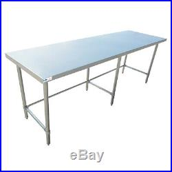 24 x 96 Stainless Steel Commercial Kitchen Work Table Open Base