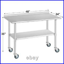 24x48 Commercial Prep Work Table Stainless Steel Kitchen with4 Caster Backsplash