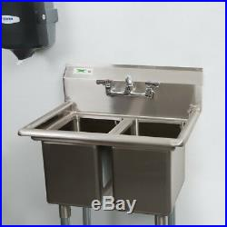 27 Two Compartment Stainless Steel Commercial 2 Sink Utility Hand Wash Kitchen
