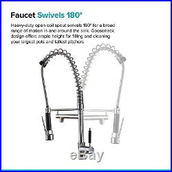 28 Pre-Rinse Spray Commercial Kitchen Sink Faucet, Stainless Steel Mixer Tap