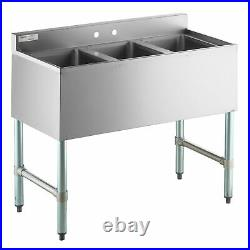 3 Compartment Bowl Underbar Sink Stainless Steel Bar Kitchen Commercial 38