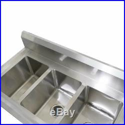 3 Compartment Heavy Duty Stainless Steel Commercial Utility Sink Kitchen