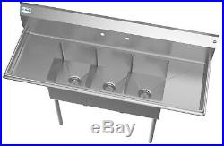 3 Compartment NSF Stainless Steel Commercial Kitchen Sink with 2 Drainboards 60
