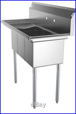 3 Compartment NSF Stainless Steel Commercial Kitchen Sink with Drainboard 45