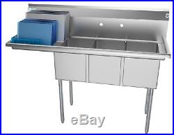 3 Compartment NSF Stainless Steel Commercial Kitchen Sink with Drainboard 55