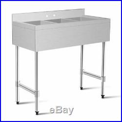 3 Compartment Stainless Steel Kitchen Commercial Sink Heavy Duty