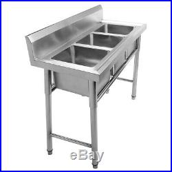 3 Compartment Stainless Steel Kitchen Commercial Sink Heavy Duty Withdrain pipe US