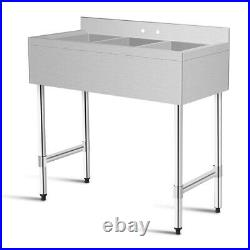 3-Compartment Stainless Steel Kitchen Commercial Sink Restaurant 38 x 19 x 39
