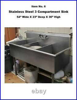 3-Compartment Stainless Steel Kitchen Commercial Sink Used