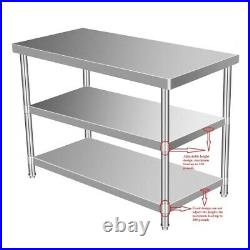 3 Layer Stainless Steel 24 x 36 Commercial Kitchen Prep Work Table Heavy Duty